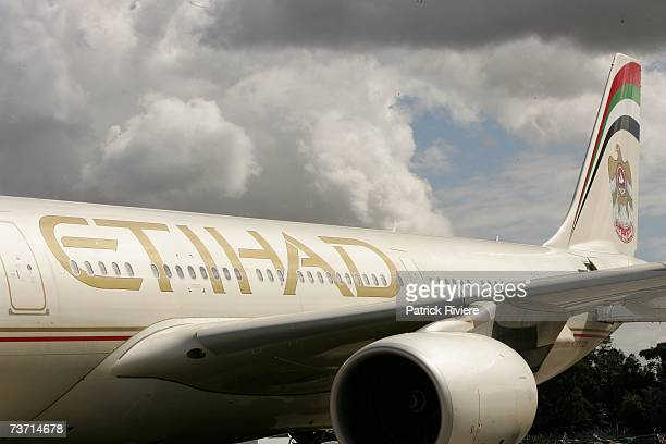 The first flight from Etihad Airways the national airline of the United Arab Emirates arrives in Sydney and marks the opening of the airline's new...