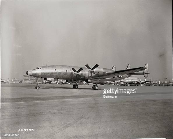 The first flight of this first Lockheed Super Constellation equipped with jettype turbo prop engines marked a major aviation milestone at Lockheed...