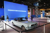The first Ford Mustang sold in the United States is prepared for display at the Chicago Auto Show on February 5 2014 in Chicago Illinois The car was...