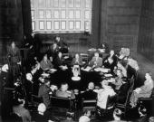 The first formal meeting of the Potsdam Conference at the Palace of Kaiser Wilhelm Representatives of the USA USSR and Great Britain with their staff...