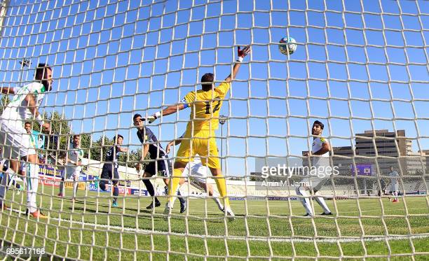 The first goal of Japan scored by Yuya Osako of Japan during the FIFA World Cup Russia Asian Final Qualifier match between Iraq and Japan at PAS...