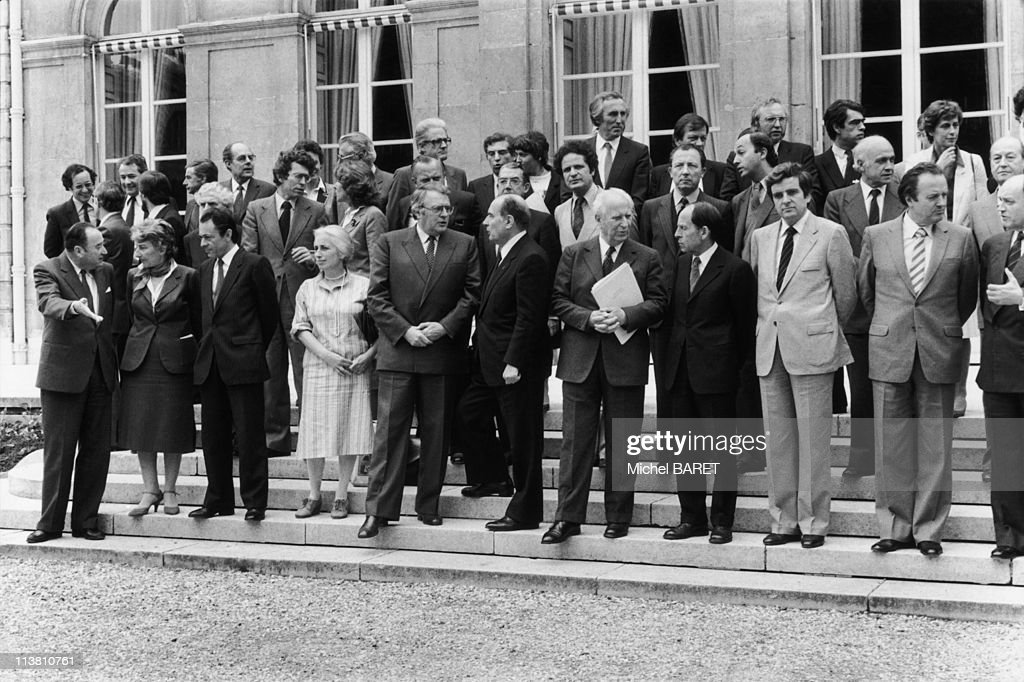 The first government members of Francois Mitterand lead by <a gi-track='captionPersonalityLinkClicked' href=/galleries/search?phrase=Pierre+Mauroy&family=editorial&specificpeople=598206 ng-click='$event.stopPropagation()'>Pierre Mauroy</a> on May 27,1981 in Paris,France.