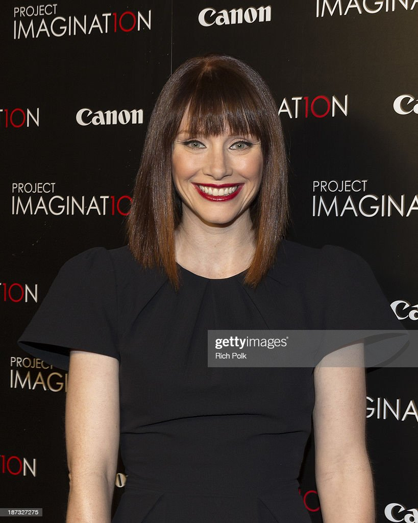 The first graduating director of Canon's Project Imagin8ion, <a gi-track='captionPersonalityLinkClicked' href=/galleries/search?phrase=Bryce+Dallas+Howard&family=editorial&specificpeople=156411 ng-click='$event.stopPropagation()'>Bryce Dallas Howard</a> arrives at Canon's Los Angeles Screening Of The Project Imaginat10n Film Festival at Pacific Theaters at the Grove on November 7, 2013 in Los Angeles, California.