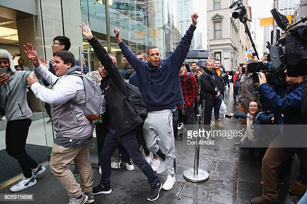 The first group of customers is allowed inside for the release of the iPhone 7 at Apple Store on September 16 2016 in Sydney Australia Apple's latest...