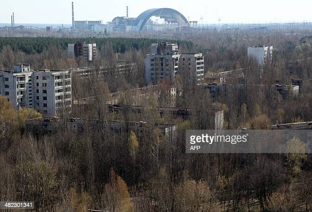 The first half of the Chernobyl New Safe Confinement or NSC an arch that which will cover the reactor building is seen after it was pushed to its...