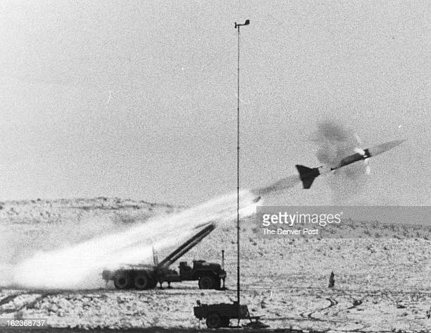 MAR 5 1957 The First Honest John Rocket Ever Fired in Colorado Takes Off in a Flash of Flame And Smoke