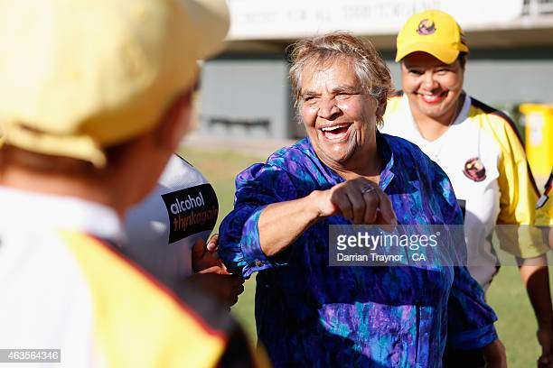 The first indigenous woman to play Test Cricket for Australia Faith Thomas speaks with the Western Australian Womens Imparja Cup team on February 12...