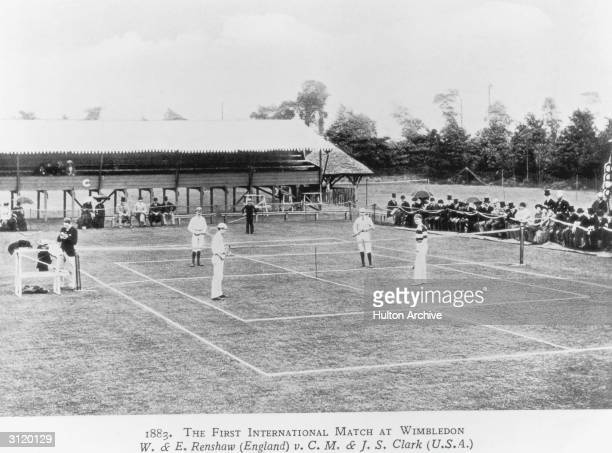 The first international tennis match takes place at Wimbledon London 1883 The match between the twins William and Ernest Renshaw of England and...