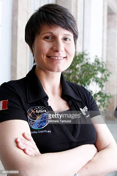 The first Italian female ESA astronaut Samantha Cristoforetti poses after her speech during the Mission Futura 200 days In Space conference at the...