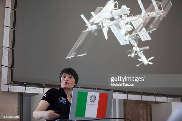 The first Italian female ESA astronaut Samantha Cristoforetti speaks during the Mission Futura 200 days In Space conference at the Italian embassy on...