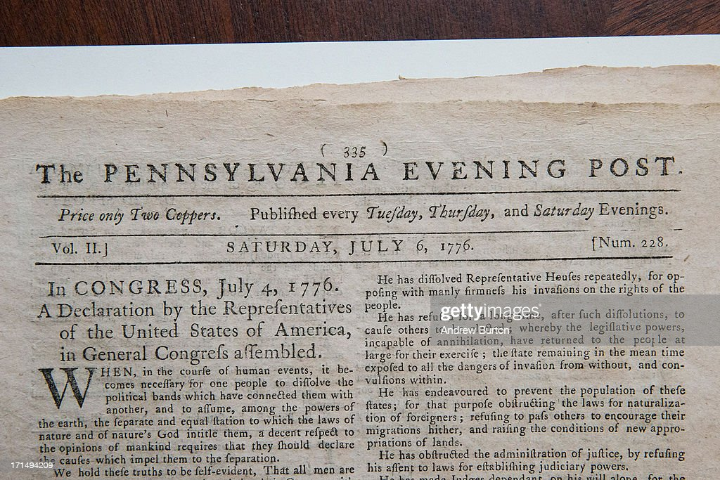 first newspaper printing of the declaration of auctioned in new york - The Declaration Of