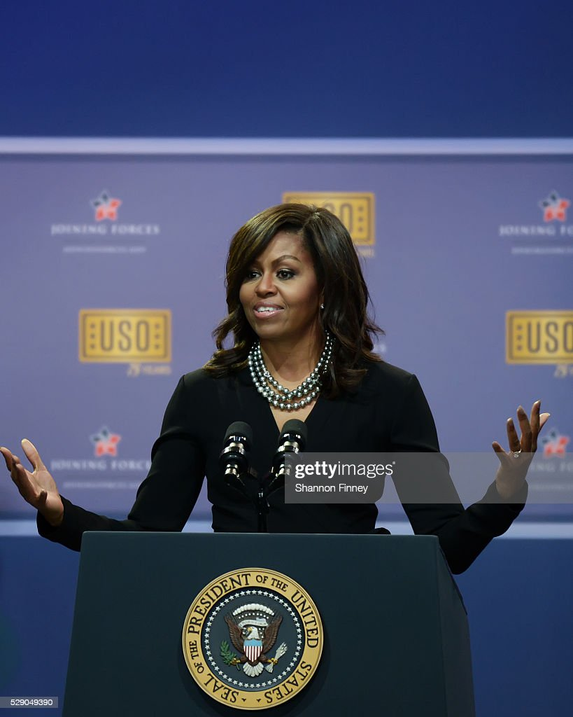 The First Lady greets the audience at the 75th Anniversary USO Show on May 5 2016 at Joint Base Andrews in Camp Springs Maryland