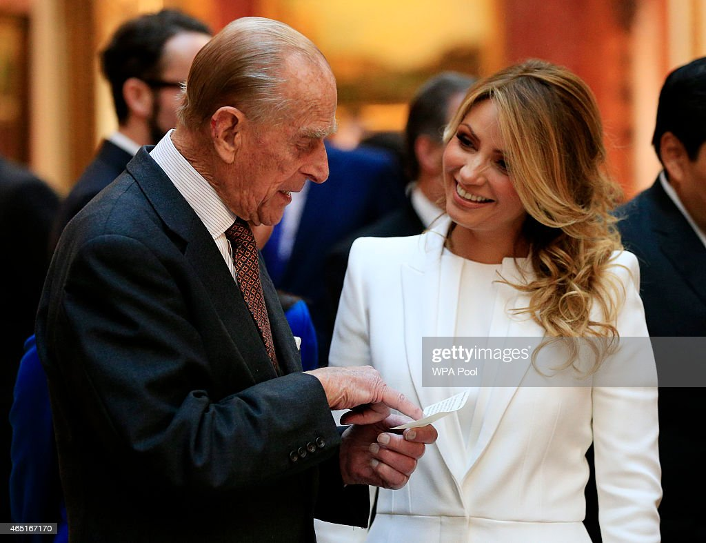The First Lady of Mexico (right) is shown Mexican items in the Royal Collection by the Duke of Edinburgh (left) at Buckingham Palace on March 3, 2015 in London, England. The President of Mexico, accompanied by Senora Angelica Rivera de Pena, are on a State Visit to the United Kingdom as the guests of Her Majesty The Queen from Tuesday 3rd March to Thursday 5th March.