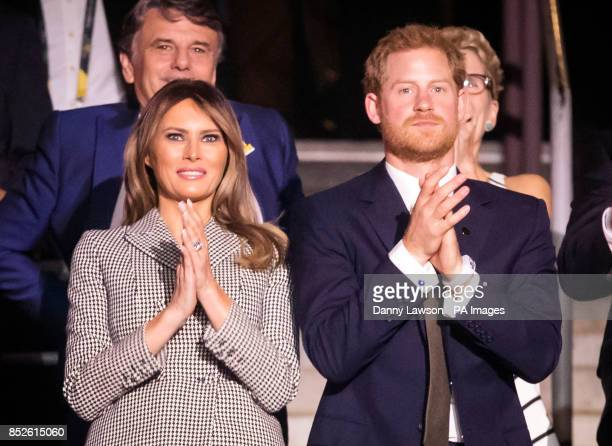 The First Lady of the United States Melania Trump and Prince Harry attend the Opening Ceremony of the 2017 Invictus Games at the Air Canada Centre in...