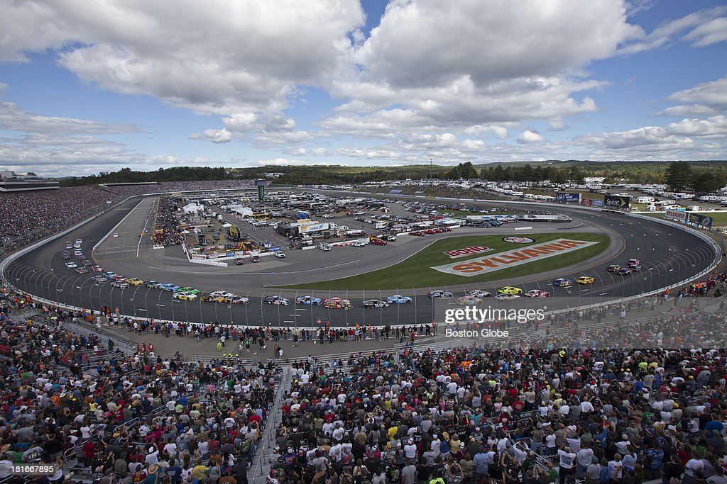 The first lap. The NASCAR Sprint Cup series Sylvania 300 took place at the New Hampshire Motor Speedway, Sunday, Sept. 22, 2013.