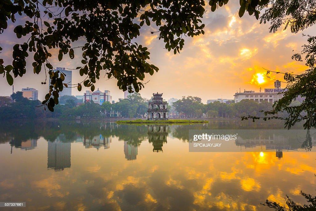 Thap Rua (Turtle Tower), Hoan Kiem Lake, Hanoi, Vietnam, January 2015.