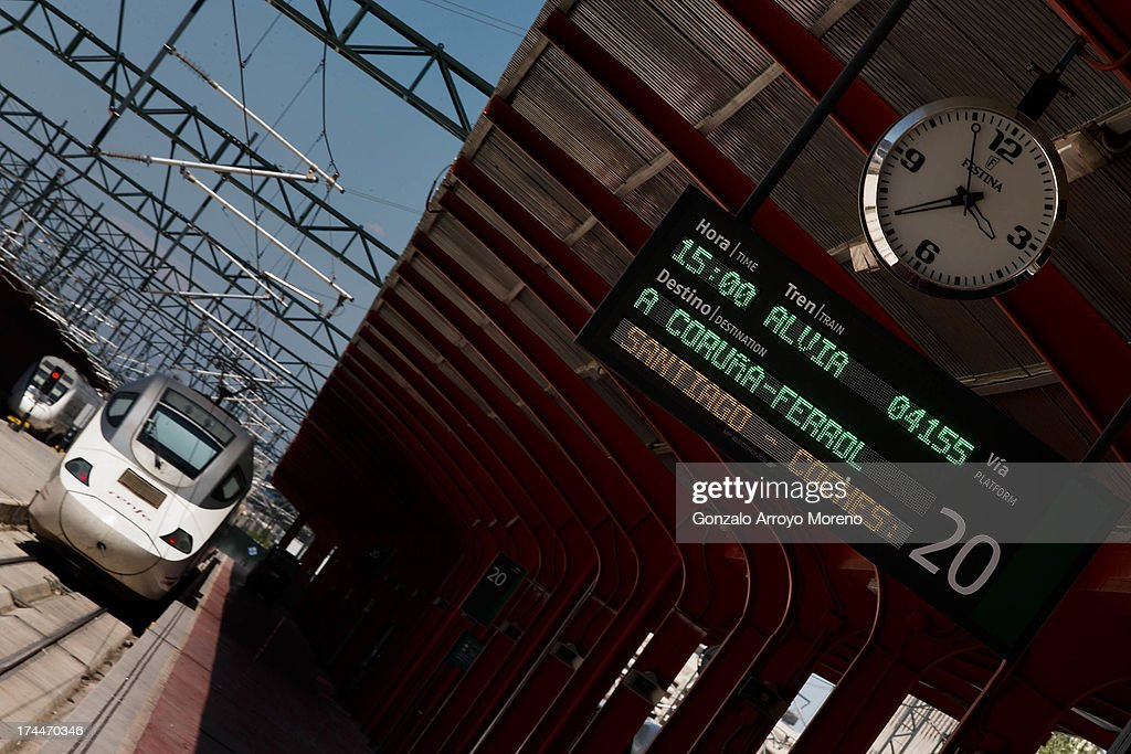 The first Madrid - A Coruna route high speed train departures after the high speed train crash in Santiago de Compostela at Chamartin Station on July 26, 2013 in Madrid, Spain.