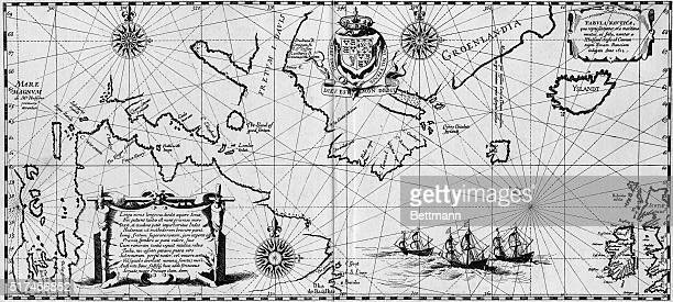 The first map showing the discoveries of explorer Henry Hudson in the North Published in 'Descriptio ac delineatio Geographica Detectionis Freti' in...