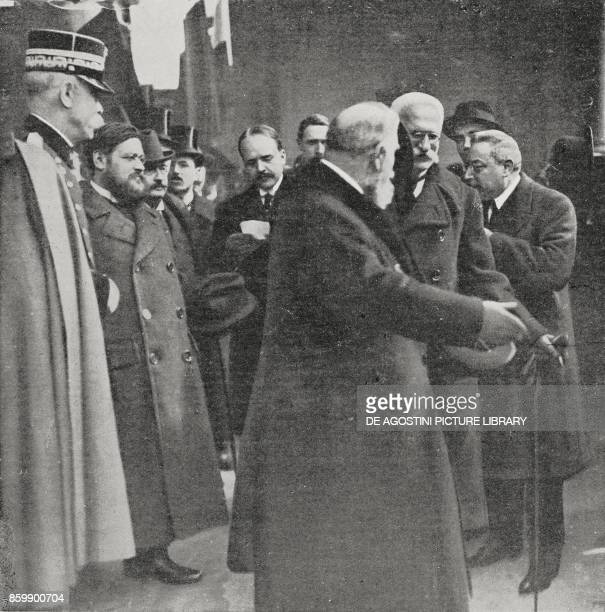 The first meeting between Leon Bourgeois and Sidney Sonnino ItaloFrench Conference of February 1916 Rome Italy from L'Illustrazione Italiana Year...