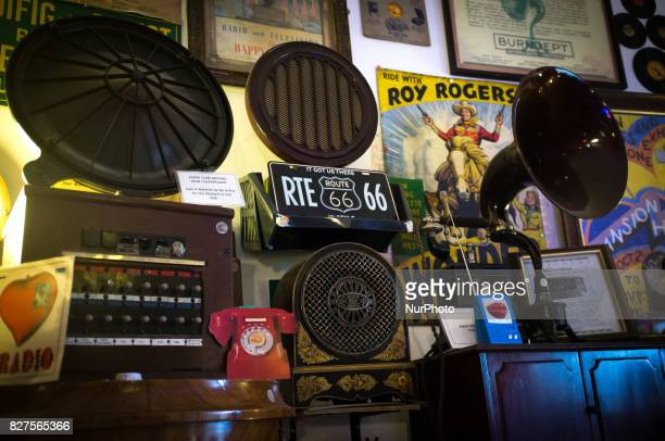 The first models of television are pictured at 'Ye Olde Hurdy Gurdy Museum of Vintage Radio' in Howth Dublin on August 6 2017 It is a museum of...
