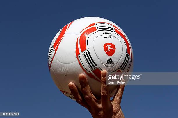 The first official ball 'Torfabrik' for the German Bundesliga is pictured after a press conference of adidas and the DFL in the media center at...
