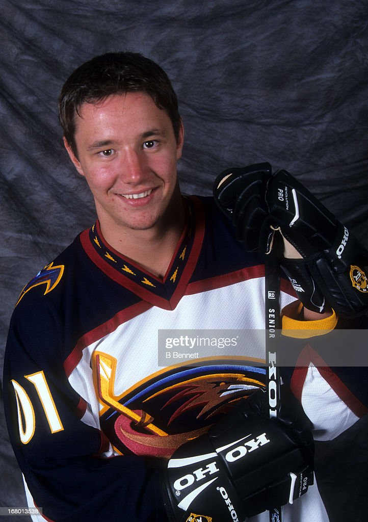 The first overall pick <a gi-track='captionPersonalityLinkClicked' href=/galleries/search?phrase=Ilya+Kovalchuk&family=editorial&specificpeople=201796 ng-click='$event.stopPropagation()'>Ilya Kovalchuk</a> of the Atlanta Thrashers poses for a portrait on June 23, 2001 in Sunrise, Florida.