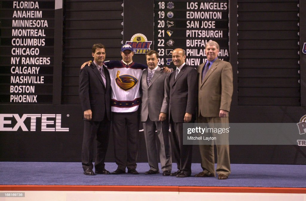 The first overall pick <a gi-track='captionPersonalityLinkClicked' href=/galleries/search?phrase=Ilya+Kovalchuk&family=editorial&specificpeople=201796 ng-click='$event.stopPropagation()'>Ilya Kovalchuk</a> of the Atlanta Thrashers poses for a photo during the 2001 NHL Entry Draft on June 23, 2001 in Sunrise, Florida.