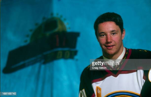 The first overall pick Ilya Kovalchuk of the Atlanta Thrashers poses for a photo during the 2001 NHL Entry Draft on June 23 2001 in Sunrise Florida
