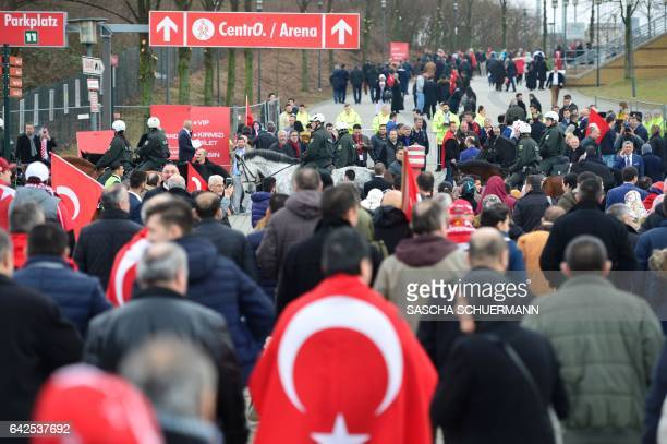 The first Participants arrive at a meeting hold by the Turkish Prime Minister Binali Yildirim in Oberhausen western Germany on February 18 2017...