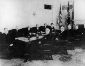 The first photograph of US President Franklin D Roosevelt with his cabinet March 1933 On the President's left William H Woodin Homer Stille Cummings...