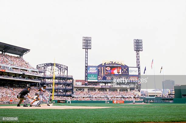 The first pitch of the first game between the Cincinnati Reds and the Pittsburgh Pirates goes out on April 9 2001 at PNC Park in Pittsburgh...