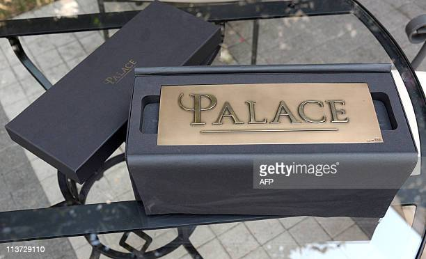 The first plaque reading 'Palace' the French highest rating for hotels is displayed in the garden of the newly rewarded fivestar hotel Bristol on May...