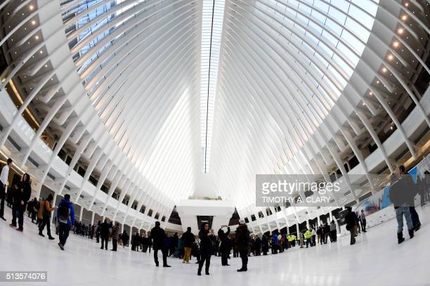 The first portion of Santiago Calatrava's World Trade Center Transportation Hub known as the Oculus open to the public in New York on March 3 2016...