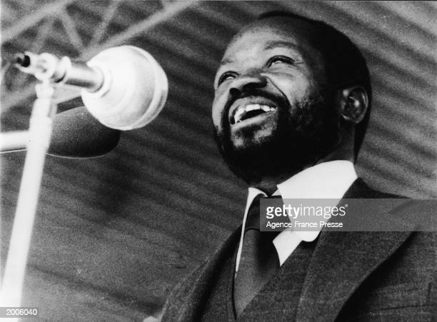 The first president of independent Mozambigue Samora Machel addresses a crowd of 40000 Mozambicans in Machava stadium on the first anniversary of the...