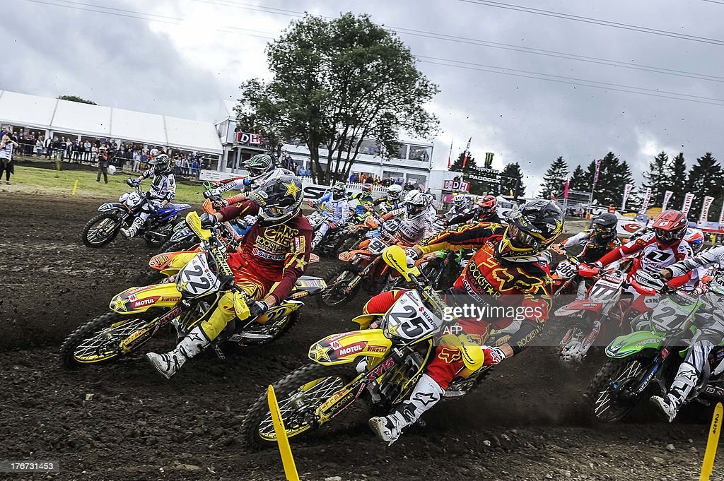 The first race of the motocross MX1 Belgian Grand Prix starts on August 18, 2013, in Bastogne.