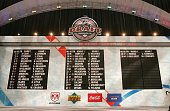 The first round selections are seen on the draft board during the 2006 NHL Draft held at General Motors Place on June 24 2006 in Vancouver Canada