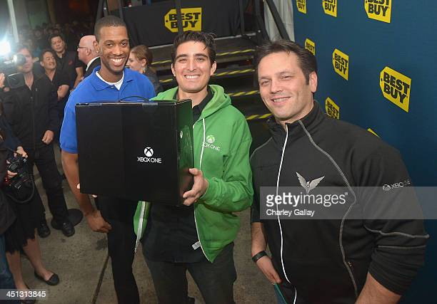 The first sale of the Xbox One at the Xbox One Launch at Milk Studios on November 21 2013 in Los Angeles California