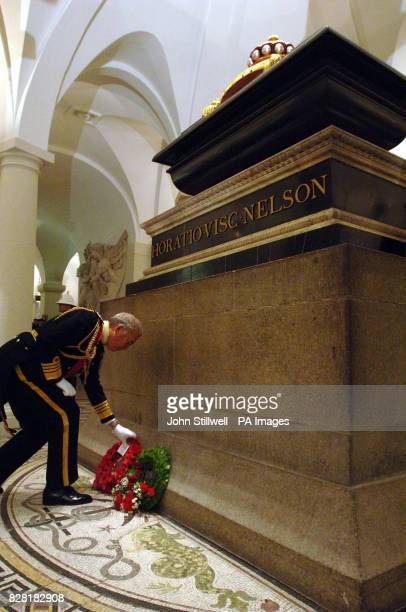 The First Sea Lord Sir Alan West lays a wreath at the tomb of Admiral Lord Nelson in the crypt of St Paul's Cathedral Friday October 21 on the 200th...