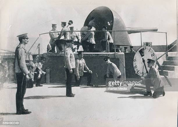 The first shot is sent across the bows of the German steamer Pfalz in 1914 WWI Weapons Aust First Shot 1914 Lt Col Williams in position to give the...