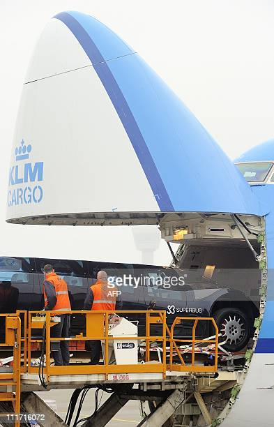 The first Superbus prototype designed by former Dutch astronaut Wubbo Ockels and his team is loaded onto a KLM cargo airplane at Schiphol airport on...
