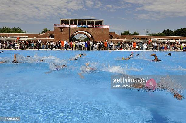 The first swimmers in the pool at the reopening of the McCarren Park Pool on June 28 2012 in the Brooklyn borough of New York City