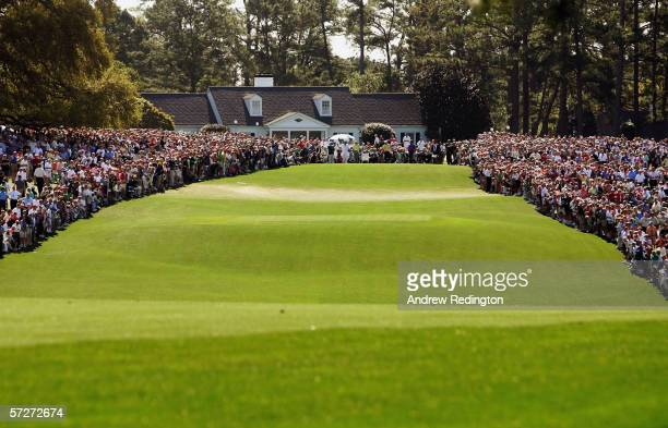 The first tee is shown during the first round of The Masters at the Augusta National Golf Club on April 6 2006 in Augusta Georgia