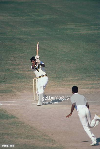 The First Test Match in Lahore during the West Indies tour of Pakistan 1980 Javed Miandad Captain of Pakistan hits Marshall