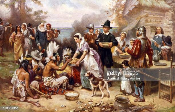 The first Thanksgiving 1621 Pilgrims and Natives gather to share meal