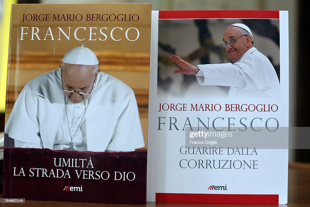The first two books by newly elected Pope Francis are displayed during the presentation at the Curci Hall of the offices of the Jesuit periodical 'La Civilta Cattolica' on March 26, 2013 in Rome, Italy. 'Guarire dalla corruzione' (Recovering from Corruption) and 'Umilta, la strada verso Dio (Humility: The Road towards God) are the titles of the first two books written by the Pope Francis and published in Italian. Both texts were written in Spanish in 2006 when he was Archbishop of Buenos Aires, drawing upon the spirituality expressed by St. Ignatius of Loyola in his 'Spiritual Exercises' to describe the profound mechanism of corruption in society, including the Church, and to note solutions, among which is the need for an ecclesial life characterized by fraternal charity.