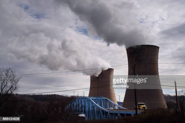 The FirstEnergy Corp Beaver Valley nuclear power station stands next to the Shippingport Bridge in Shippingport Pennsylvania US on Wednesday Dec 6...
