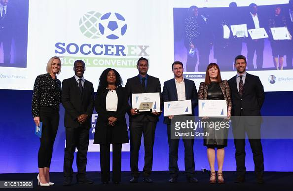 The firstever FIFA Diversity Award is presented to Abhijeet Barse from Slum Soccer with Amanda Davies Clarence Seedorf Fatma Samba Diouf Samoura FIFA...