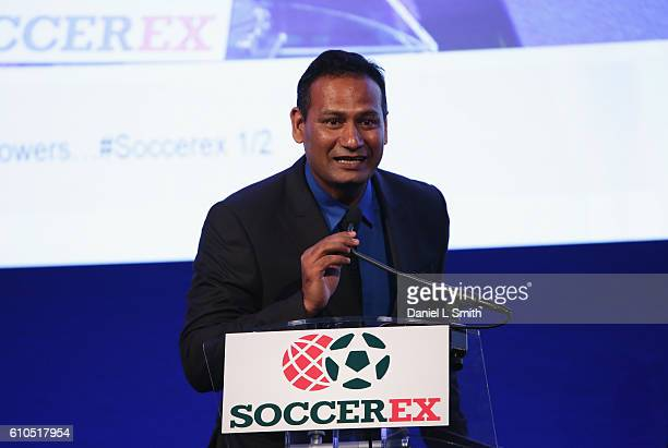 The firstever FIFA Diversity Award is presented to Abhijeet Barse from Slum Soccer during day 1 of the Soccerex Global Convention 2016 at Manchester...
