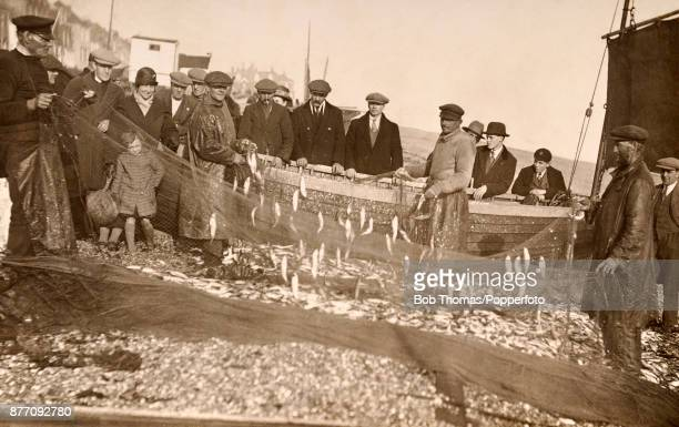 The fishing catch in nets on the beach at Deal Kent circa 1920