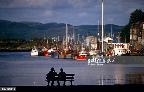 The fishing fleet of Tarbert on Scotland's Mull of Kintyre lies moored at the dock of this pretty coastal village in the Western Isles Their...